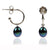 Black Freshwater Pearl Silver Hoop Earrings