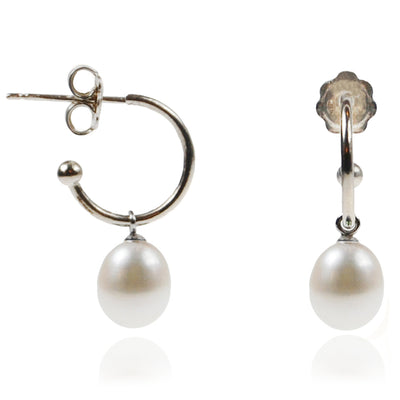 White Freshwater Pearl Silver Hoop Earrings
