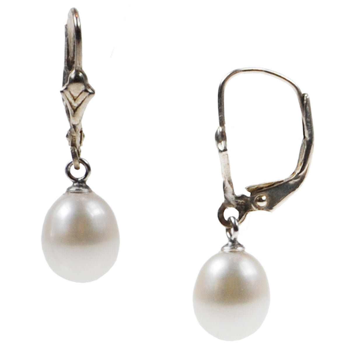 Pearl Drop Earrings on French Fittings
