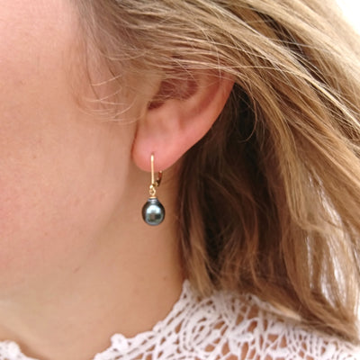 Black Tahitian Pearl 'Tsarina' Gold-Drop Earring