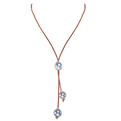 Raw Pale Tahitian Pearl Kiss Necklace in Tan and Pale Grey