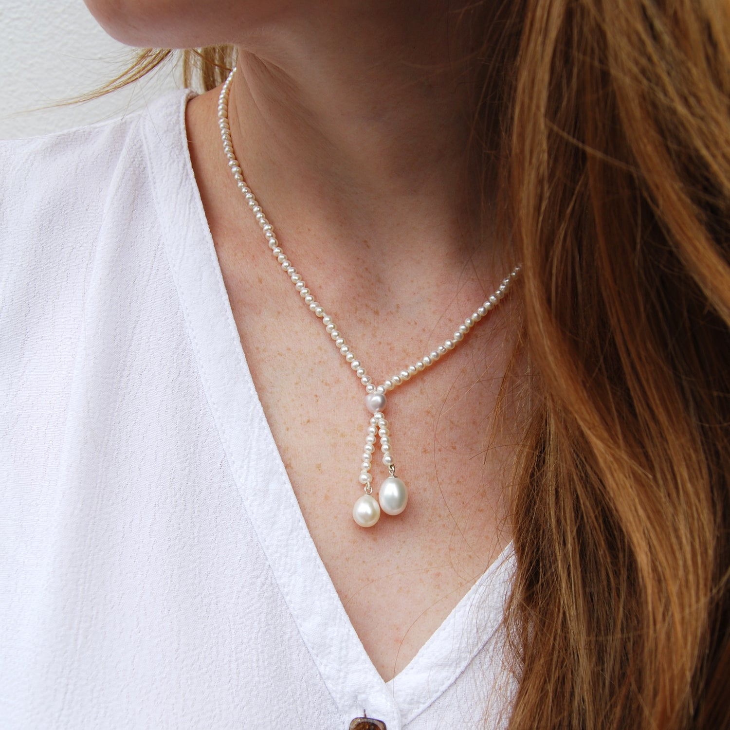 Double Pearl Drop Necklace