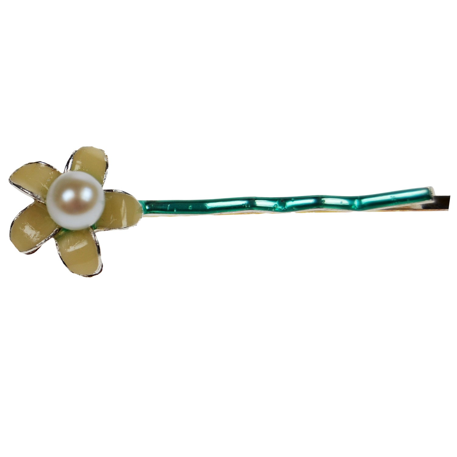 Flower and Pearl Hair Clip in White