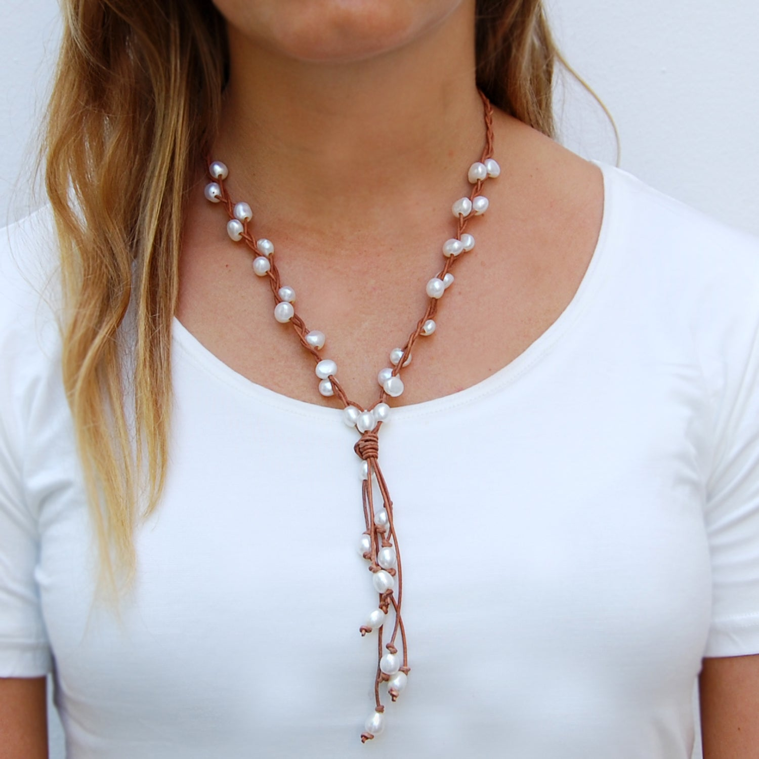 Raw Freshwater Necklace with Long Central Motif and Tassel in Tan and White