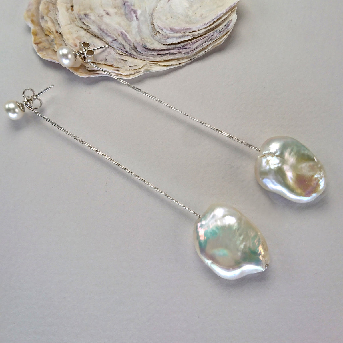 Flat Baroque Freshwater Pearl Optional Drops on Silver Chain with pearl stud