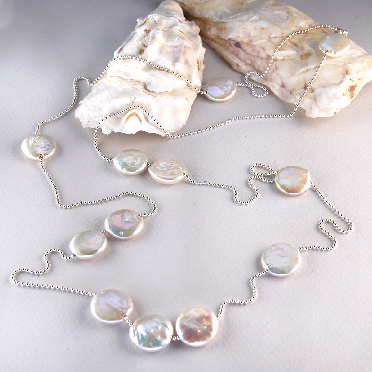 Large Flat M&M Freshwater Pearl Spacers on Silver Bead Chain