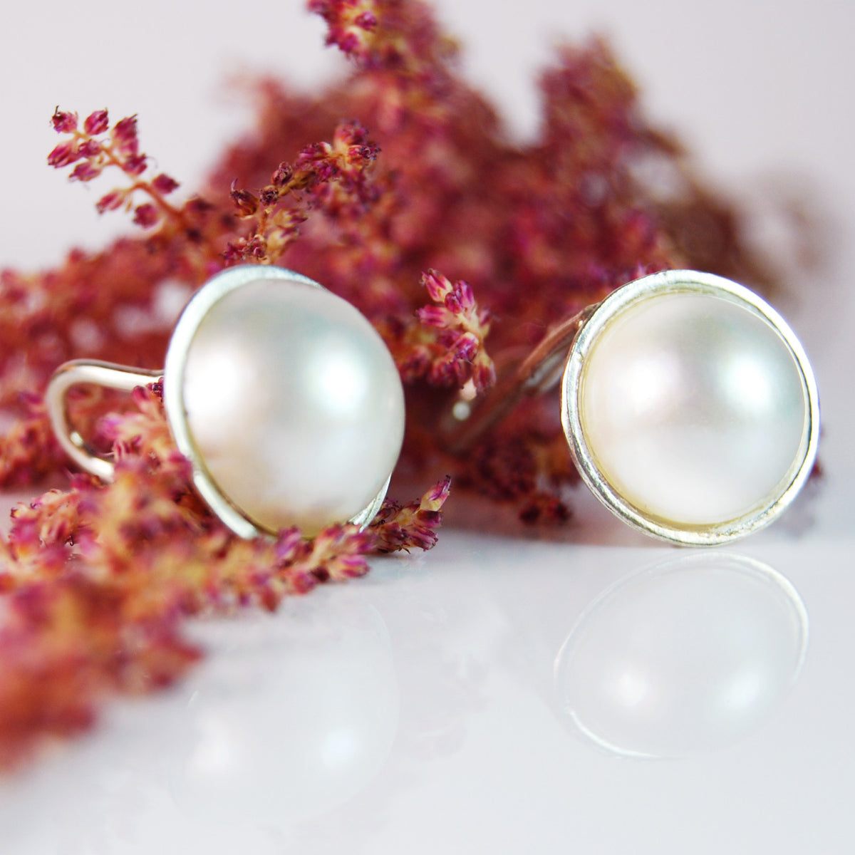 Mabe Pearl Stud on Sterling Silver