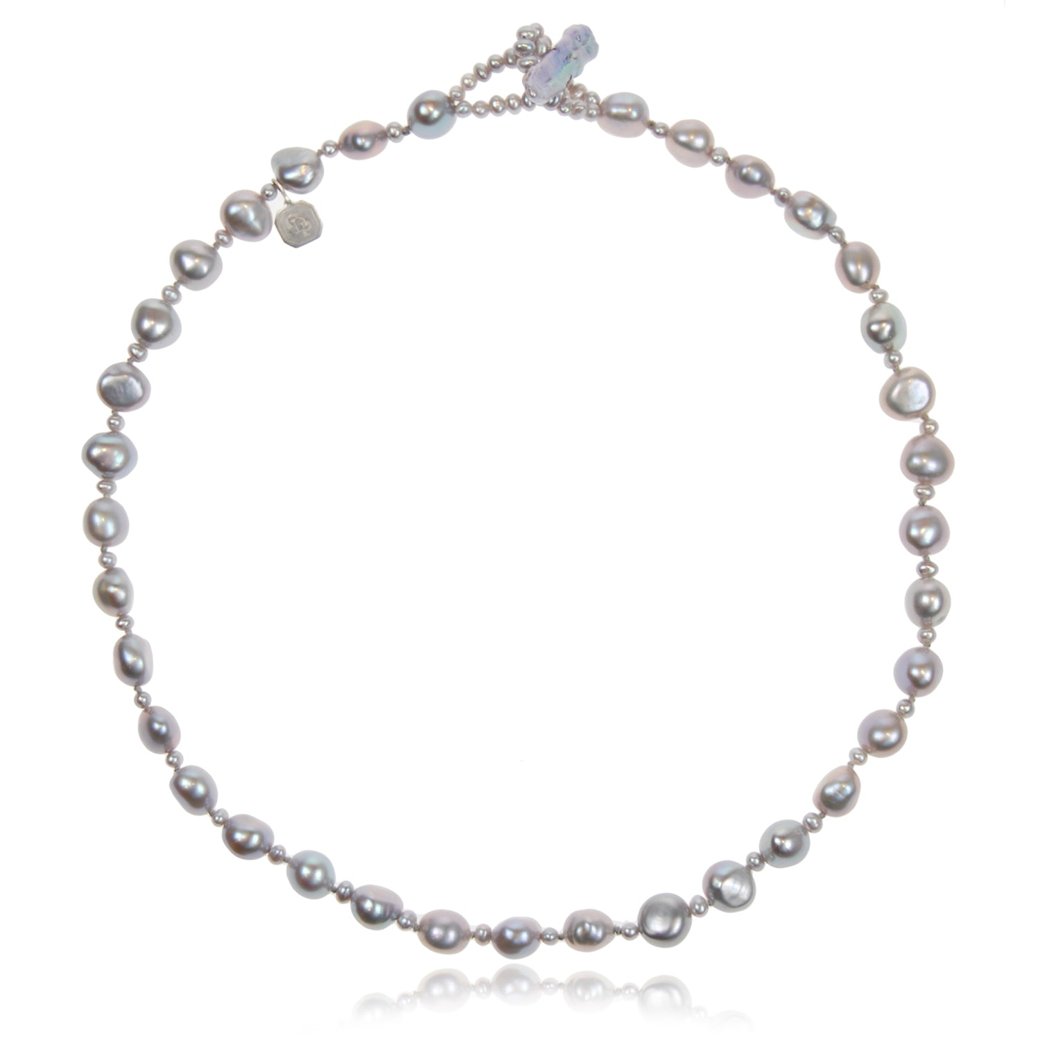 Single Strand Biwa and Seed Pearl Necklace in Grey