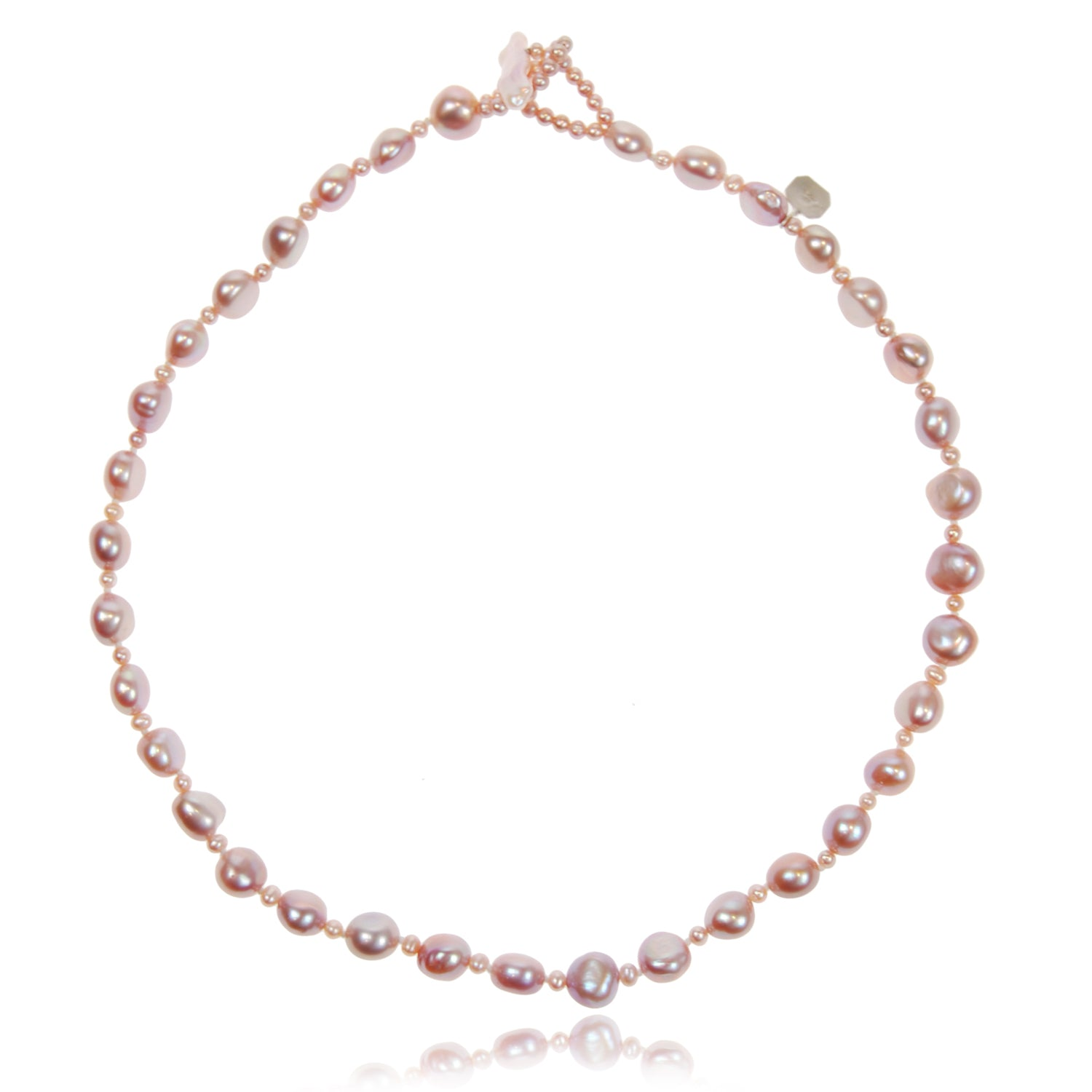 Single Strand Biwa and Seed Pearl Necklace in Pink
