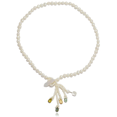 White Freshwater Pearl & Tourmaline 'Simple' Tassel Necklace