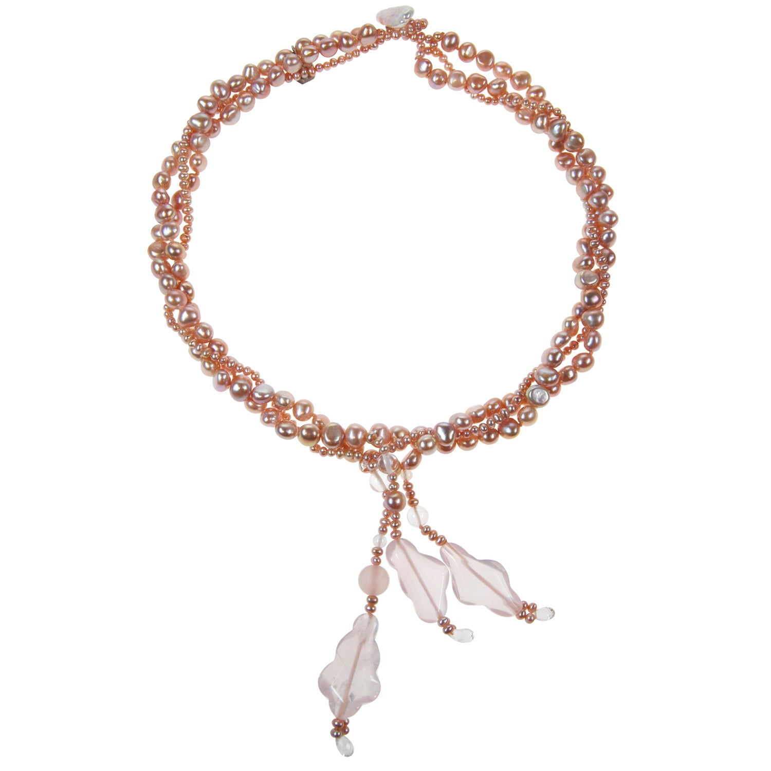 Triple Strand Pearl Necklace with Boulder Drop Tassel in Pink