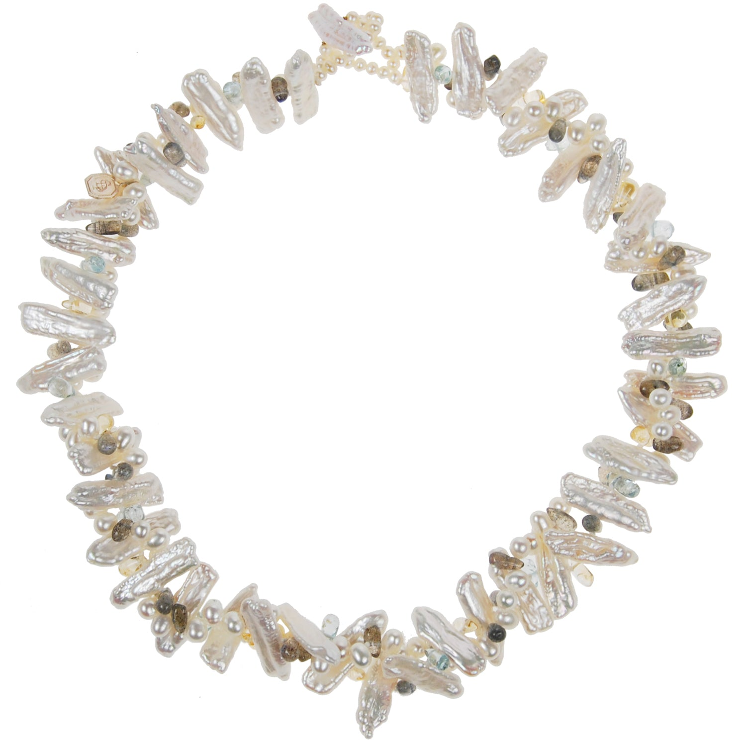 Asia' Mixed Pearl and Semi Precious Stone Necklace in White