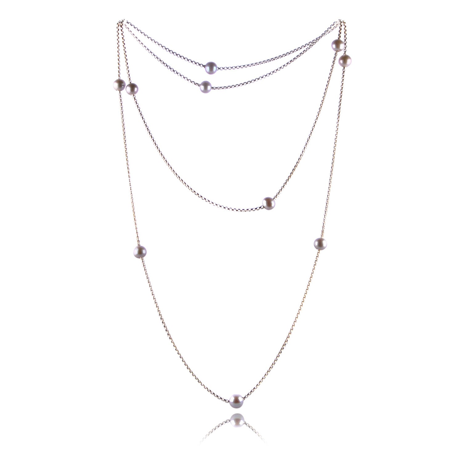 Single tone freshwater pearl solid silver faceted chain