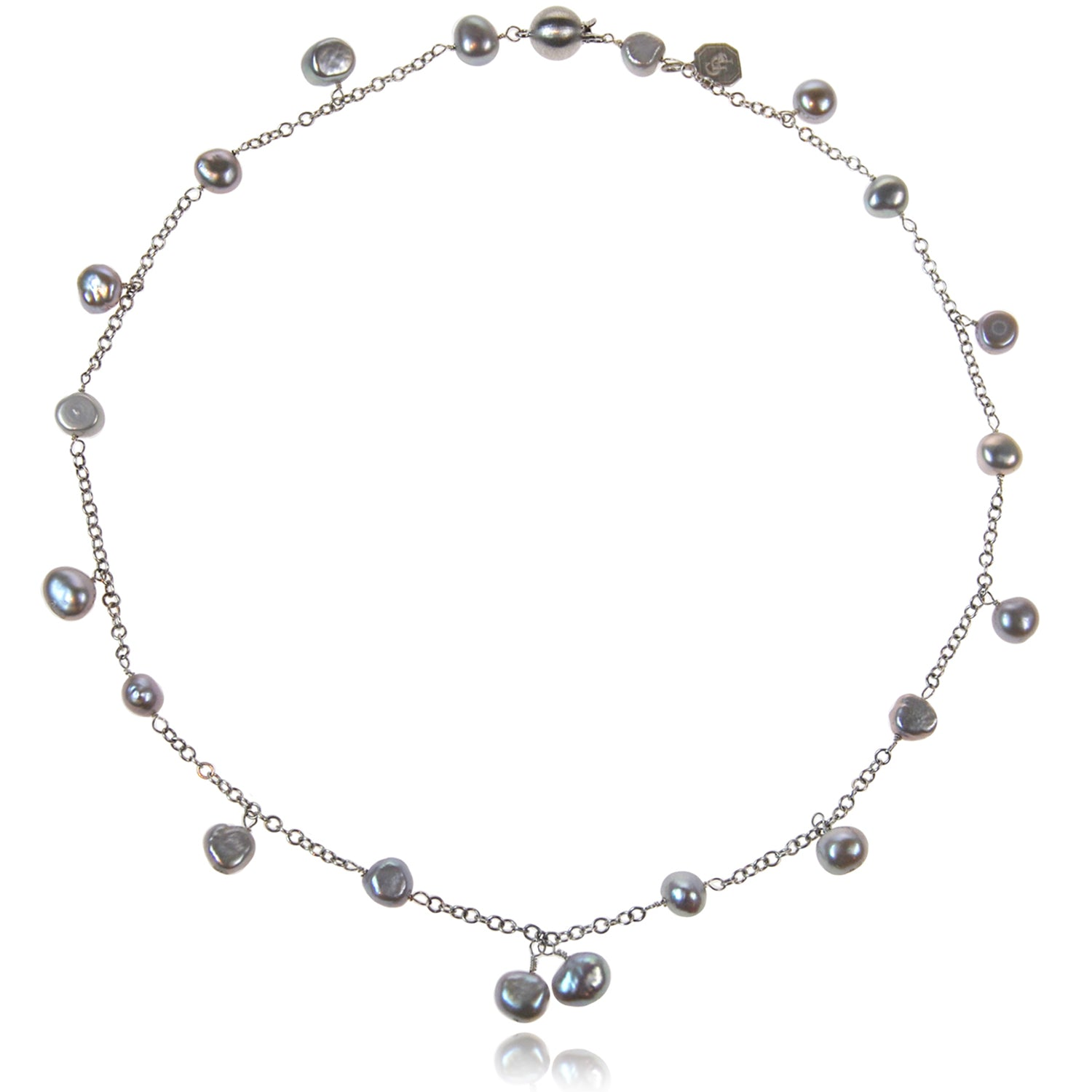 Biwa Pearl and Silver Chain Necklace in Grey