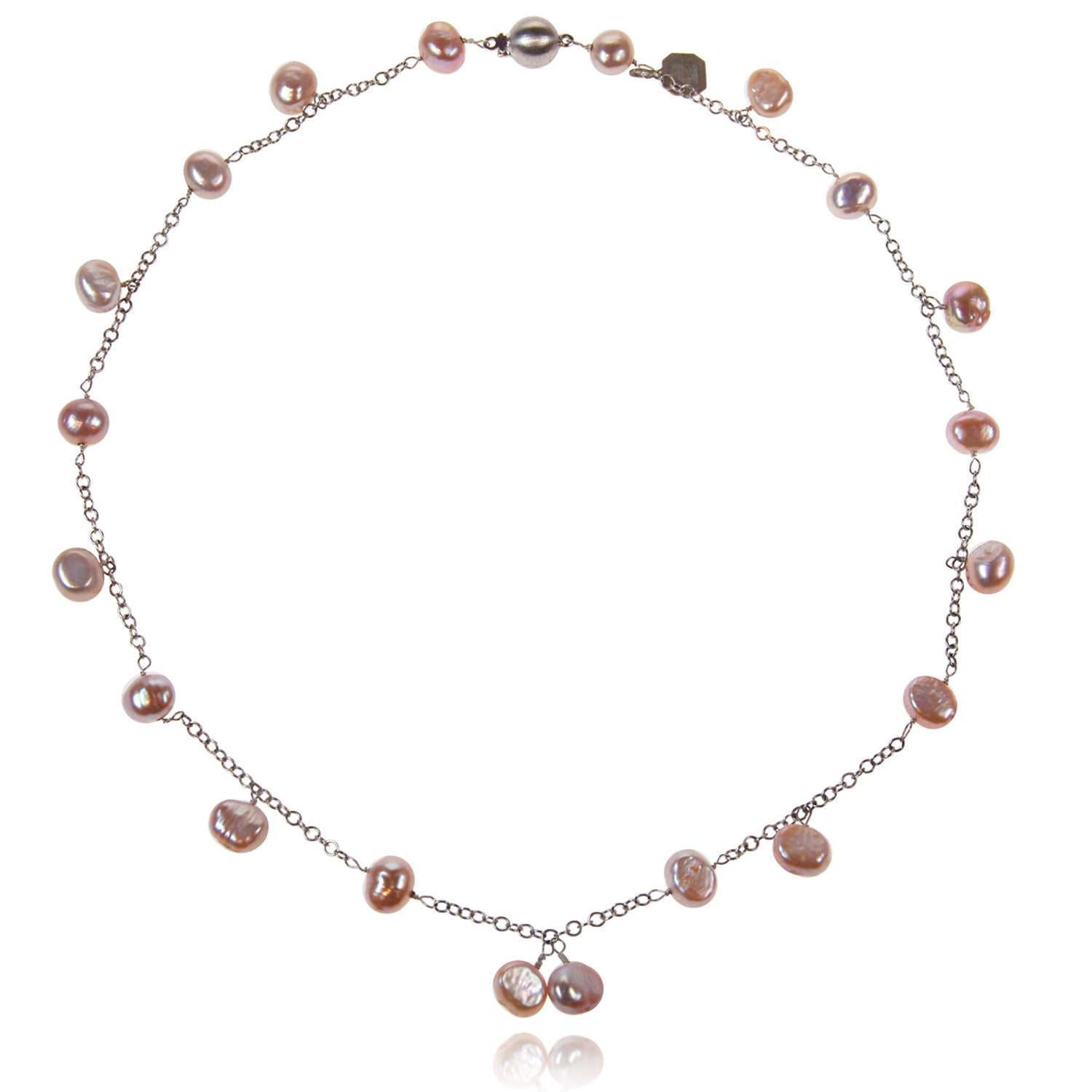 Biwa Pearl and Silver Chain Necklace in Pink