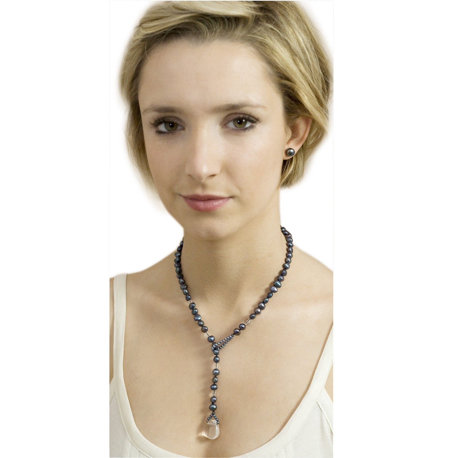 Biwa Pearl and Rock Crystal Short Lasso Necklace in Peacock Black