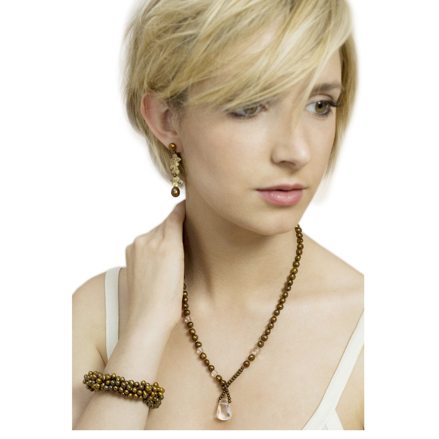 Biwa Pearl and Rock Crystal Short Lasso Necklace in Copper