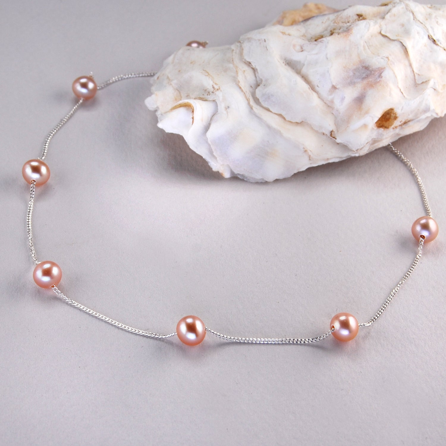 Large round Freshwater Pearl Spacer Necklace on Silver Chain in Pink