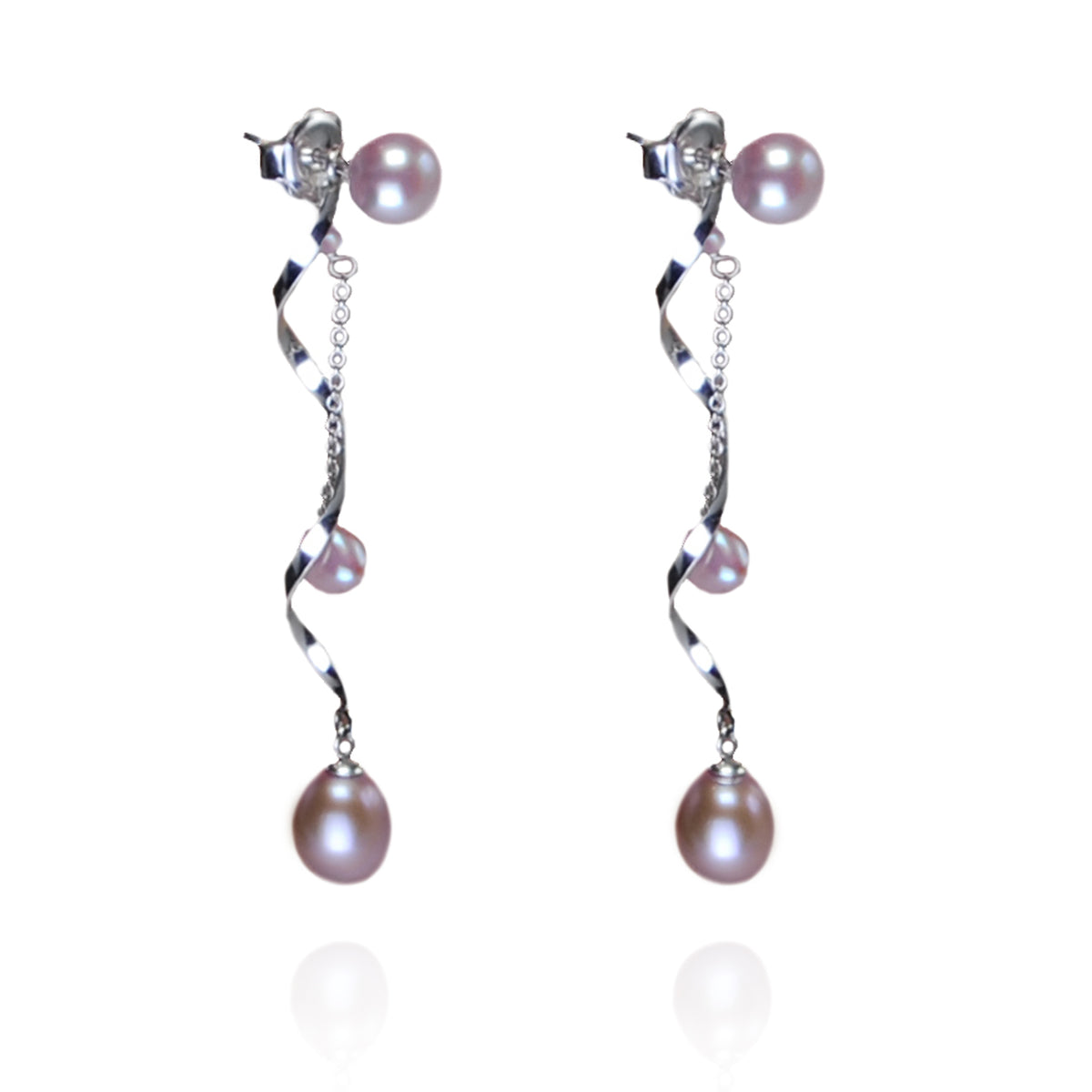 Freshwater Pearl earrings with optional long Silver Swirl & Chain Pearl Drop in Pink