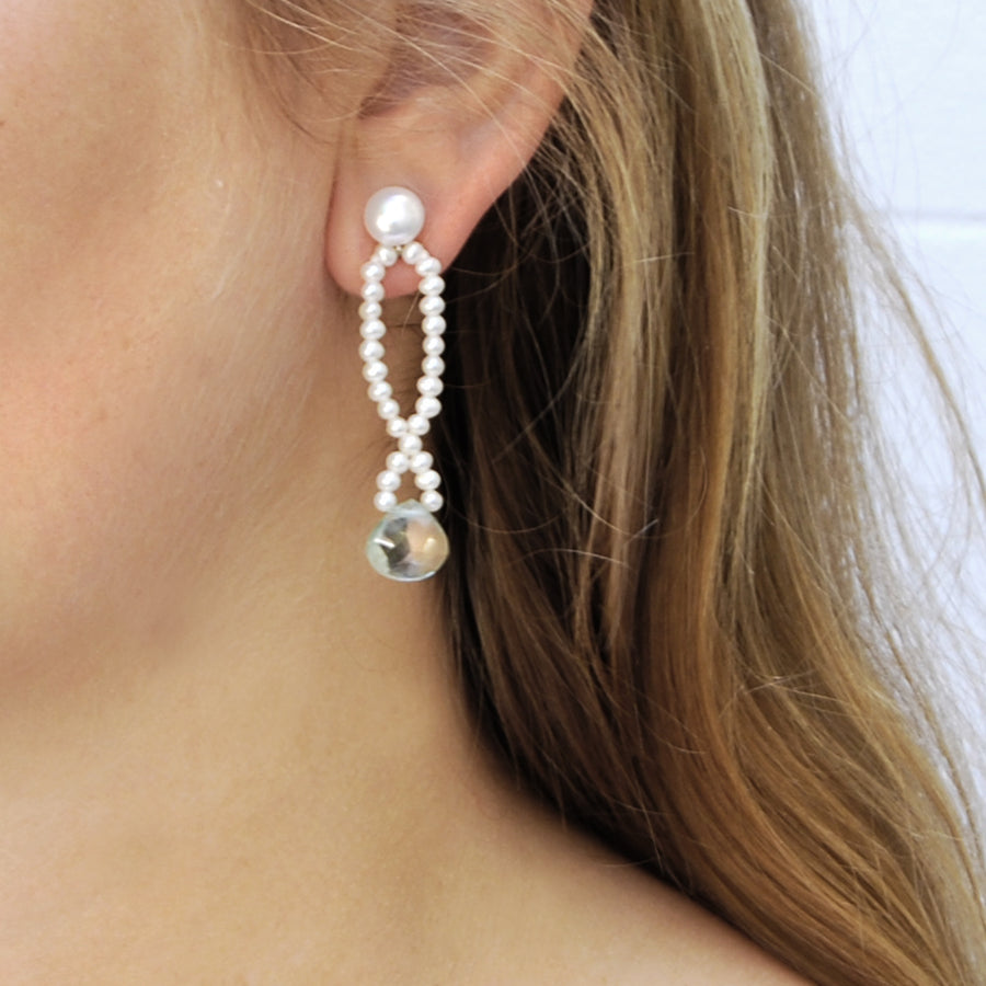 Pearl Earring Stud with a Long Figure of 8 Freshwater Pearl Loop in white with Praesolite