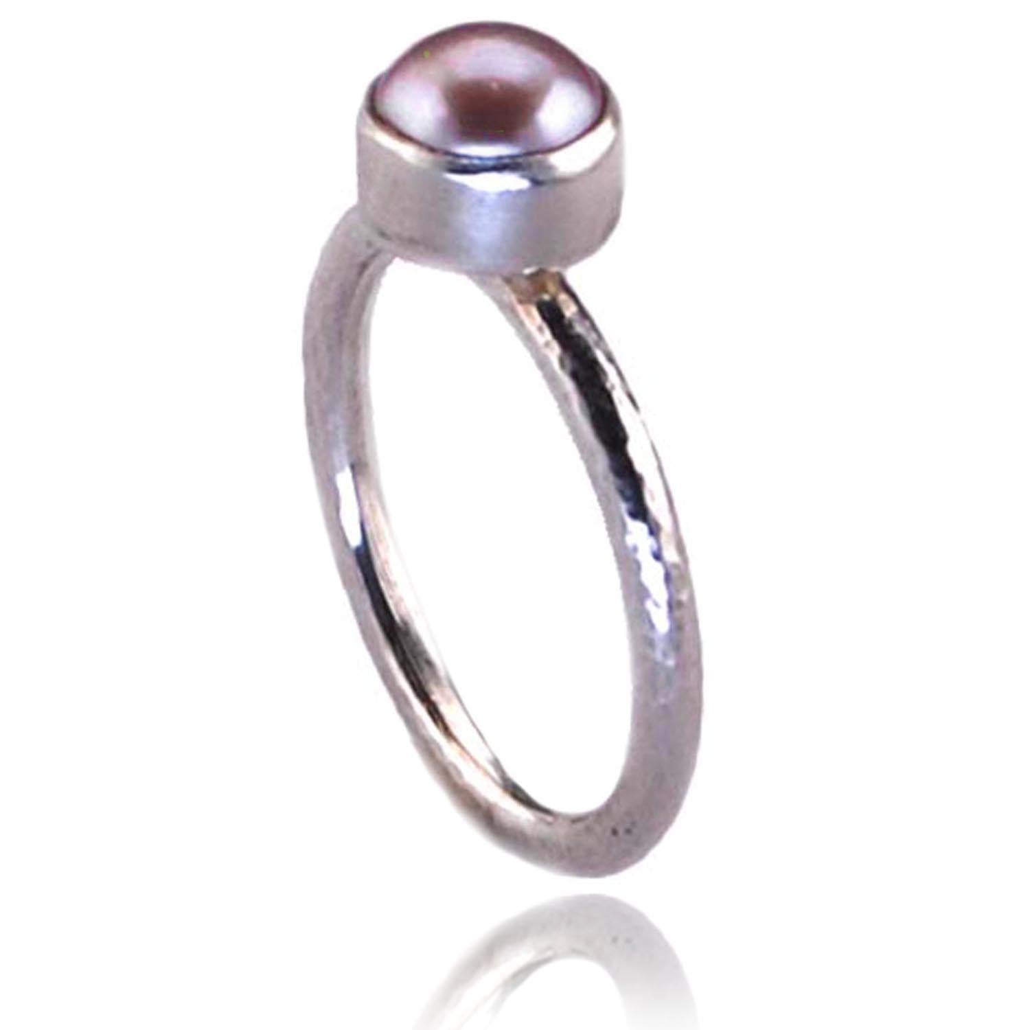 Sterling Silver Ring with Pink Freshwater Pearl