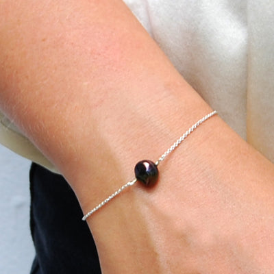 Black Freshwater Pearl 'Simple' Chain Bracelet