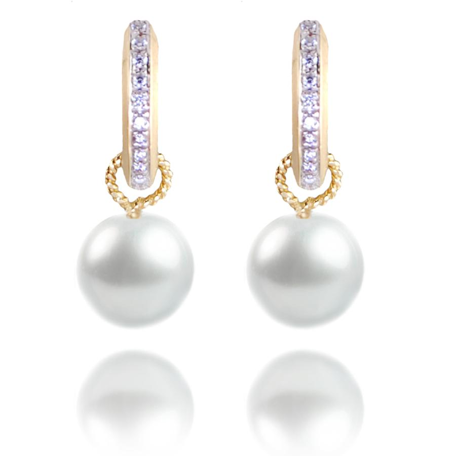 Large Diamond 'Huggies' With South Sea Pearl Drops in 18ct  Yellow Gold