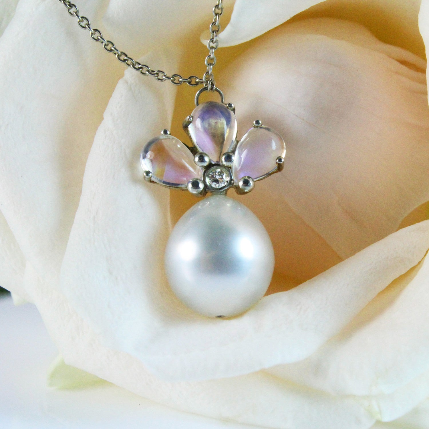 necklace silver faceted moonstone moon round pin bezel short rainbow pendant tiny stone