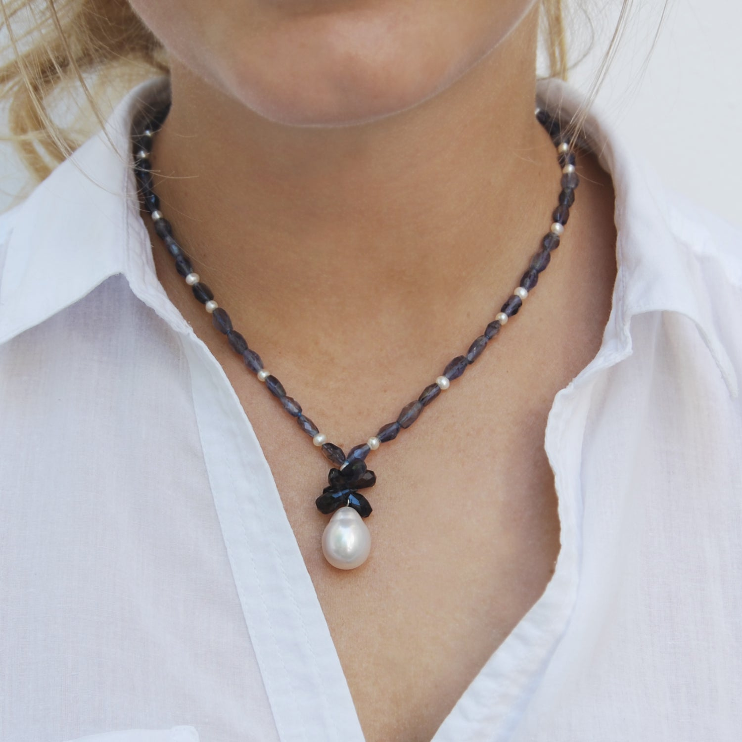 South Sea Pearl and Iolite Pendant Necklace