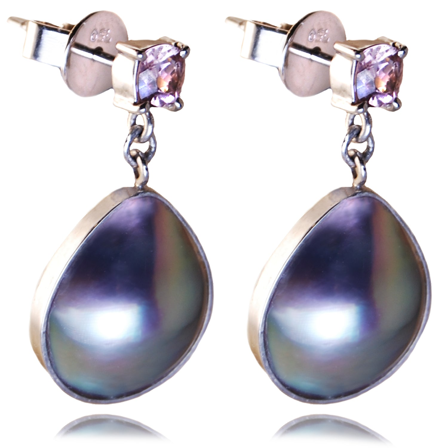 Rainbow Lipped Pearl Earrings with Baby Pink Tourmaline