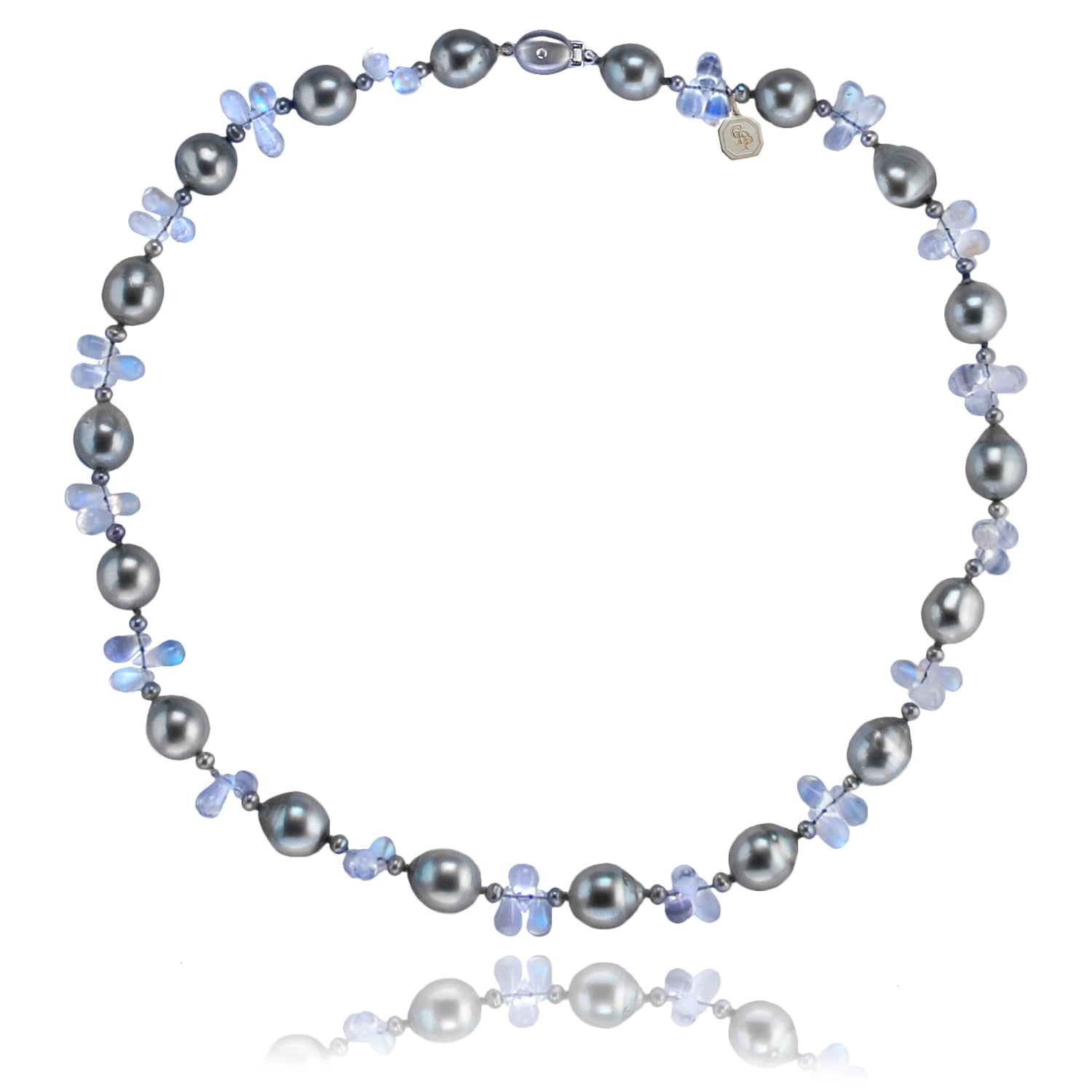 Tahitian  pearl and Rainbow Moonstone necklace