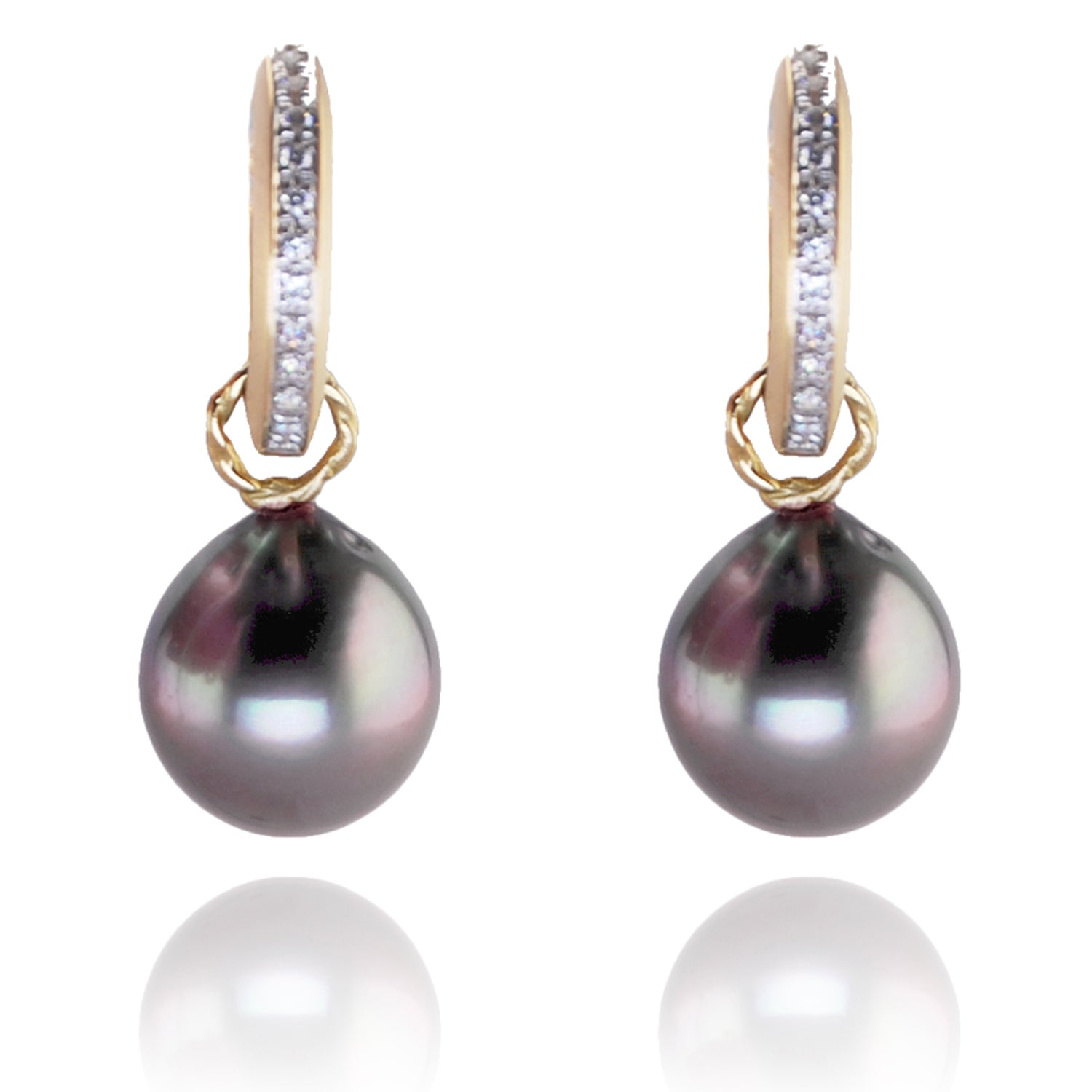 Diamond and Tahitian Pearl 'Huggies'