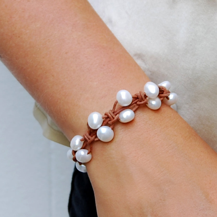 Raw Double Row Freshwater Pearl Bracelet in Tan and White