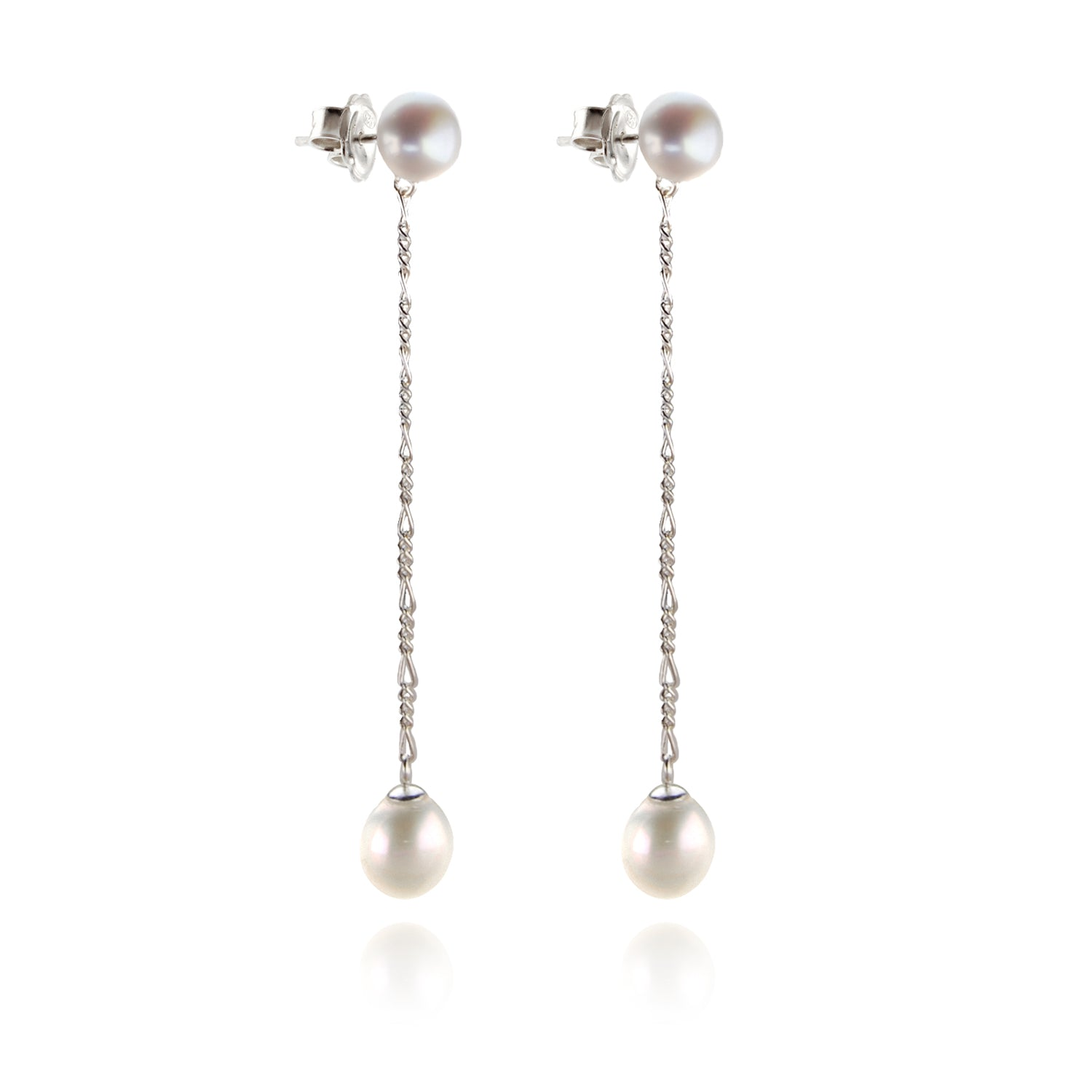 Classic Long Drop White Pearl Earrings on Silver