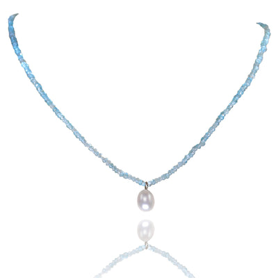 Apatite Necklace with White Freshwater Pearl Drop