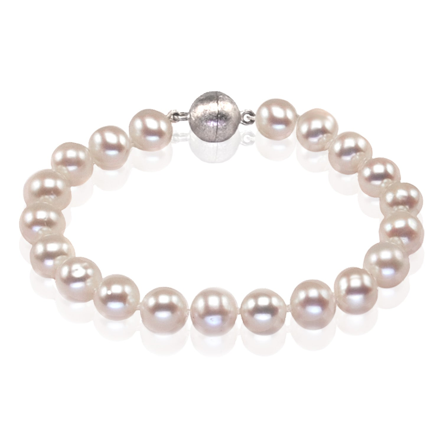 Large Freshwater Pearl Bracelet On Sterling Silver Magnetic Clasp