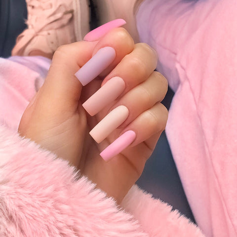 pastel nails pink and purple
