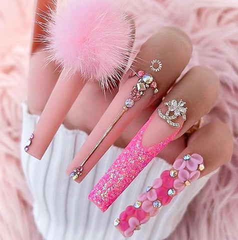 flower nail designs in pink
