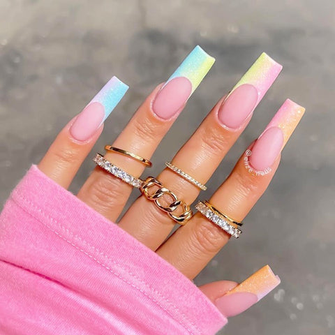 Pastel nails with french tips