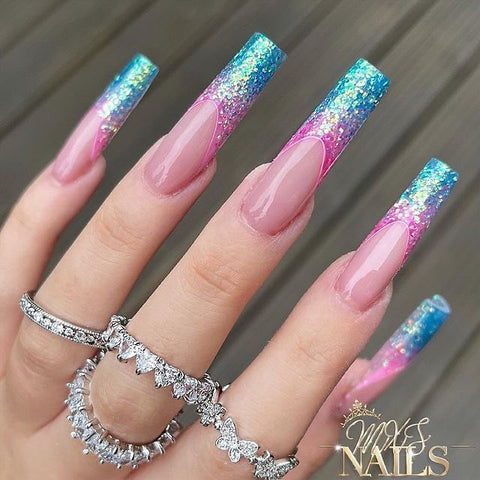 blue and pink glitter ombre nails