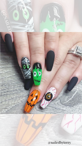 halloween nail design with multiple halloween characters
