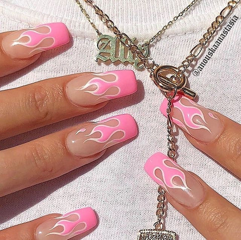 pink and white flame nails