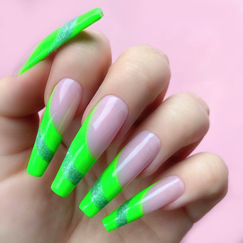 glitter and green nail designs