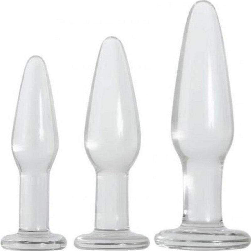 Adam & Eve Glass Butt Plug Set