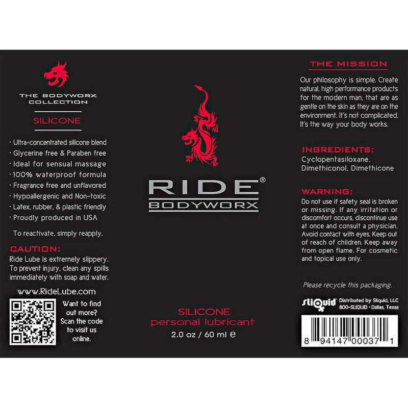 Ride Bodyworx Silicone Based Lubricant - 2 Oz