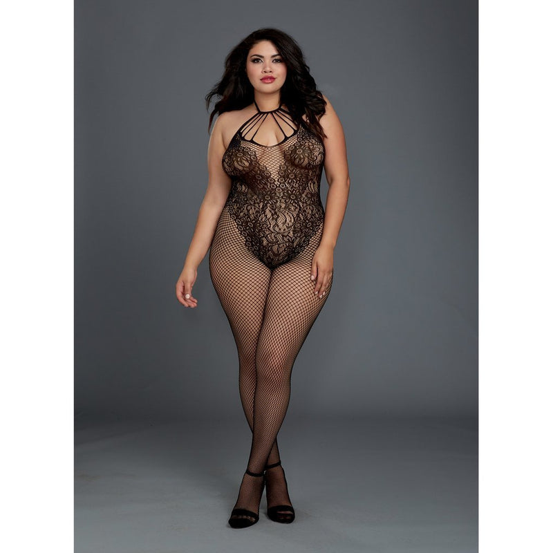 Fishnet Bodystocking with Lace Teddy Design