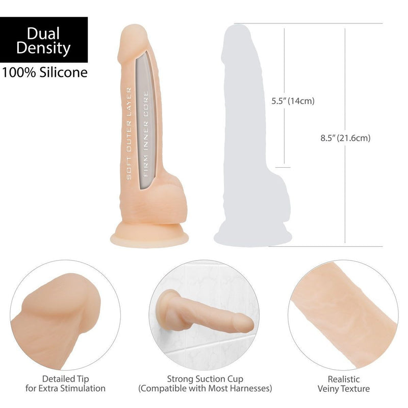 Naked Addiction 8 Inch Dual Density Thick Silicone Dildo