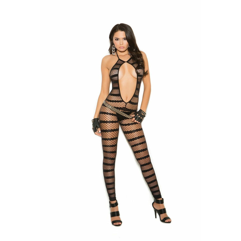 Opaque & Diamond Net Striped Bodystocking