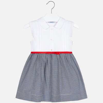 Navy Striped Collared Dress