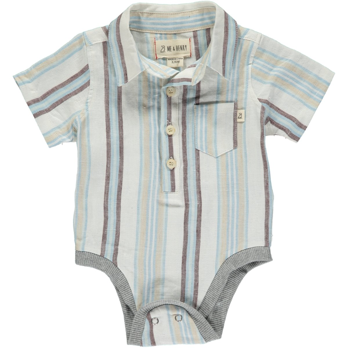 Blue Multi Stripe Woven Button Down Onesie